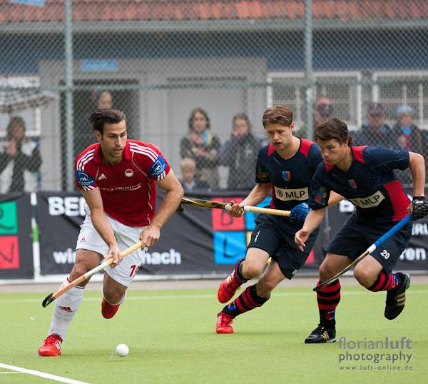 Christoper Zeller (li., RW Köln), Martin Häner (mi.) und Pilt Arnold (re., beide BHC)