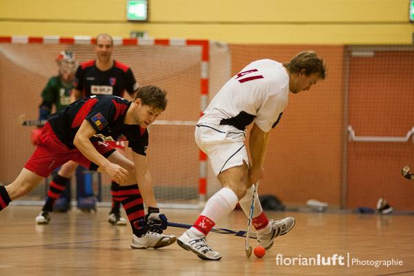 Martin Häner (li., BHC) und Florian Michel (re., TSV Mannheim)